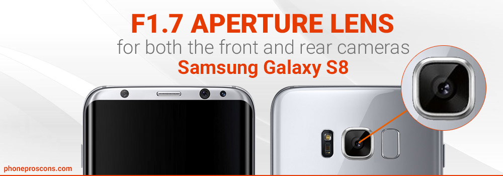 F1.7 aperture lens Galaxy S8 rear and front cameras