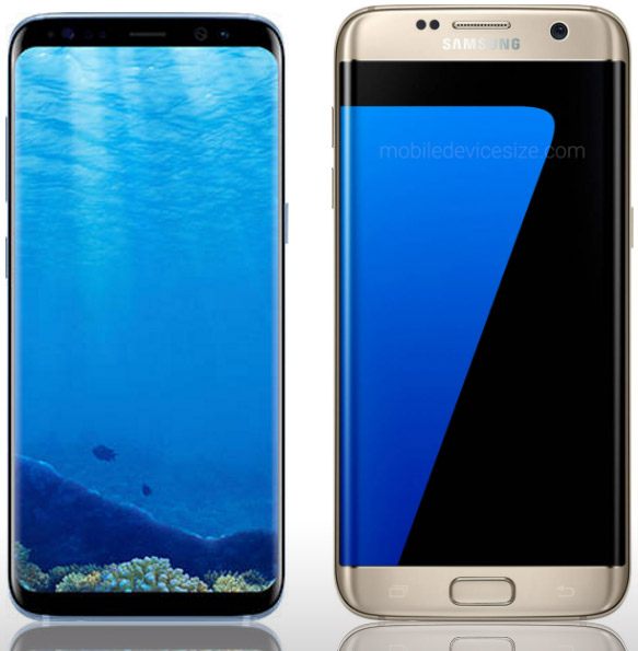 Galaxy S8 and S7 side by side, front side
