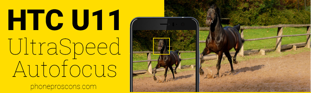 HTC U11 UltraSpeed camera autofocusing on moving horse