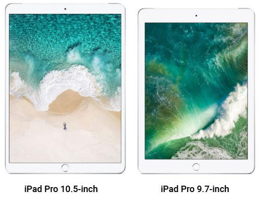 iPad Pro 10.5 inch alongside the 9.7, relative size comparison