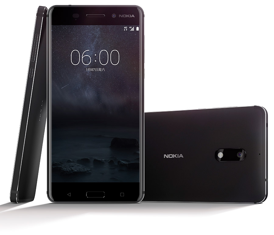Nokia 6 smartphone, rear, front and side view