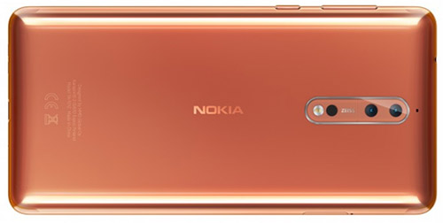Nokia 8 dual-rear cameras, copper color