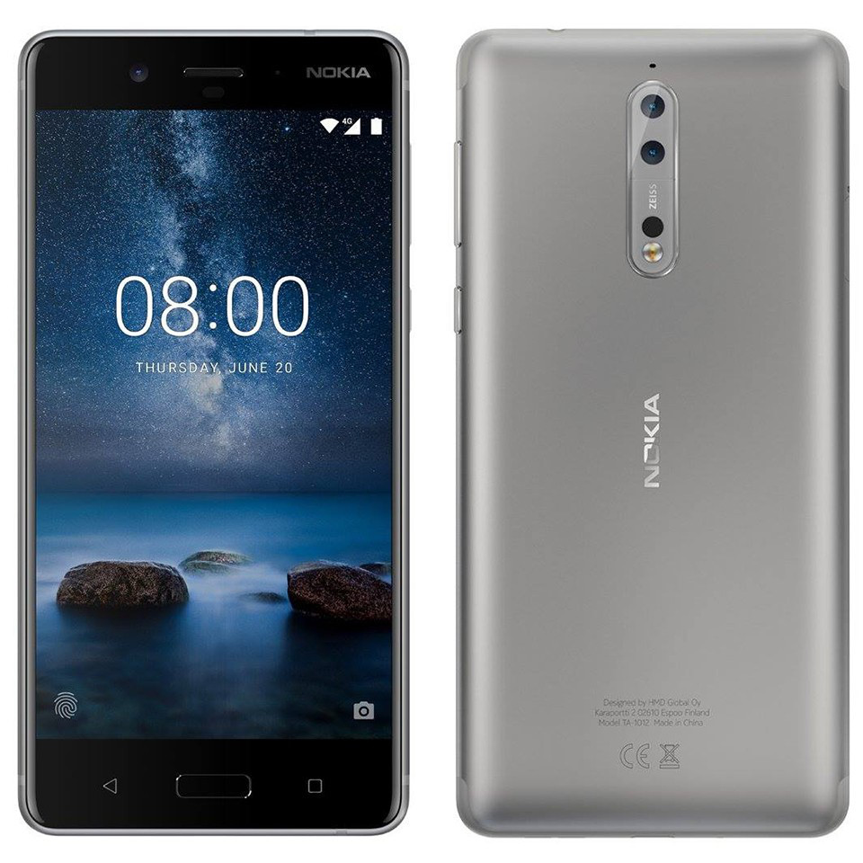 Nokia 8 smartphone in silver color