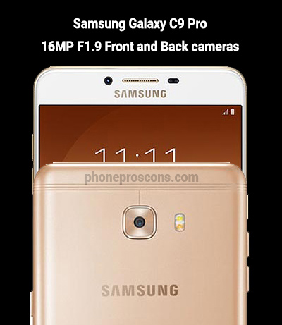 Galaxy C9 Pro smartphone front and rear cameras