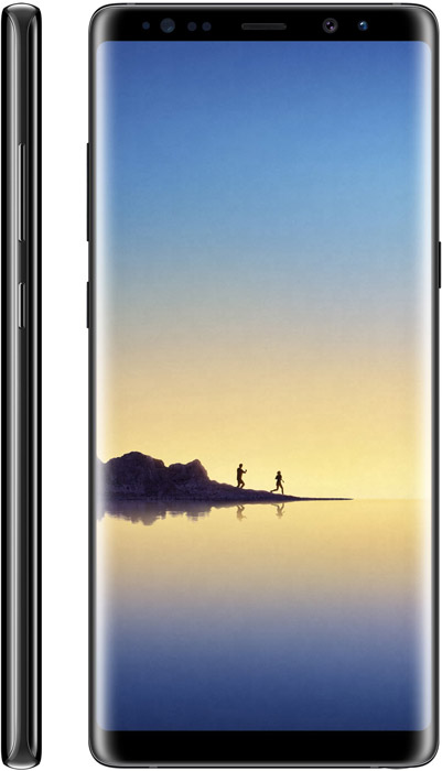 Galaxy Note8 phone front and side views