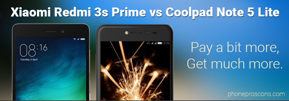 Xiaomi Redmi 3s Prime and Coolpad Note 5 Lite side by side