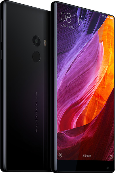 Mi MIX phone front and back with screen turned on